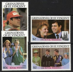 St. Vincent Grenadines MNH 539-40 Pairs Royal Wedding Prince Andrew & Sarah 1986