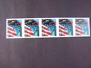 U.S.# 3970-MINT/NH-PLATE # COIL STRIP OF 5(P#1111)--FLAG & LADY LIBERTY--2005