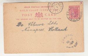 GOLD COAST, POSTAL CARD, 1905 QV 1d., SEKONDI cds. to Netherlands.