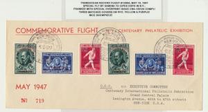 BELGIUM -NY 1947 RECORD FLIGHT SET OF COVERS(3) SABENA TO CIPEX EXPO Sc#CB4-12a
