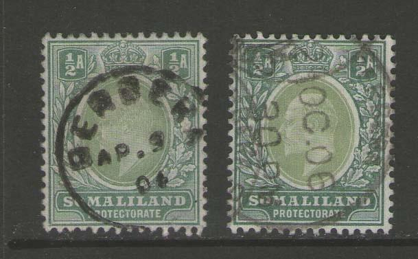 Somaliland Protectorate 1904 KEVII  + pale green SG32 FU