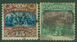 EDW1949SELL : USA 1869 Scott #119-20 Used. Minor faults. Catalog $950.00.