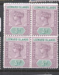 Leeward Islands SG 1 Block of Four MNH (3dnk)