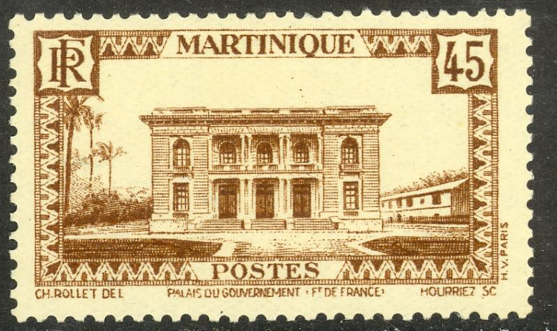MARTINIQUE 1933-40 45c Government Palace Pictorial Sc 146 MNH