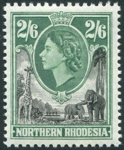 NORTHERN RHODESIA-1953 2/6 Black & Green Sg 71 UNMOUNTED MINT V35940