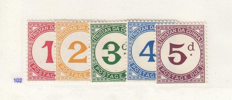 TRISTAN DA CUNHA # J1-J5 MNG UNUSED POSTAGE DUES CAT VALUE $25