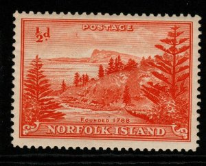 NORFOLK ISLAND SG1 1947 ½d ORANGE MNH