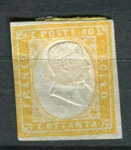 SARDINIA; 1855 early classic Imperf issue Mint unused Shade of 80c. value