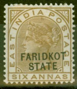 Faridkot 1887 6a Olive-Bistre SG10 Fine Mtd Mint
