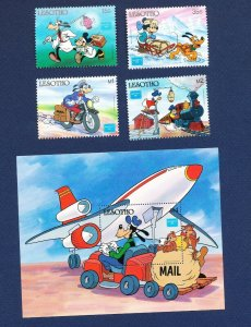 LESOTHO -  541-544 - VF MNH - Disney - Mail Carriers, Motorcycle, Dog Sled  1986