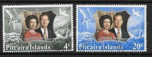 PITCAIRN ISLANDS SG124/5 1972 ROYAL SILVER WEDDING USED