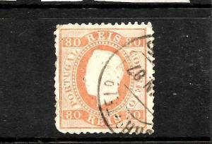 PORTUGAL 1867-70  80r  KL    FU  P12 1/2  SG 61