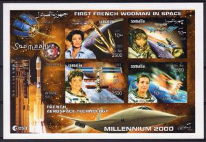 Somalia 2001  French Woman in Space/Concorde Sheetlet (4) IMPERFORATED MNH