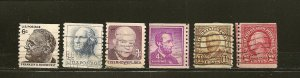 USA  Lot of 6 Different Older Coil Stamps Used
