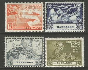 Barbados 1949 UPU 75th Anniversary Commemorative Set Mounted Mint