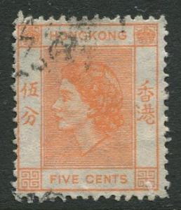 Hong Kong -Scott 185 - QEII Definitive -1954 - Used - Single 5c Stamp