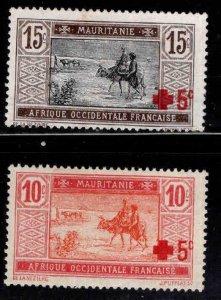 Mauritania Scott B1-B2  MH*  Red Cross semi-postal set