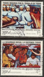 MEXICO C553-C554, 35th Anniversary Social Security Institute. Used. F-VF. (434)