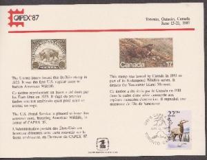 US SC117 CAPEX 87 Souvenir Card with show cancel