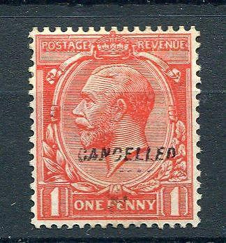1d BLOCK CYPHER OVERPRINTED 'CANCELLED' TYPE 28 MOUNTED MINT Cat £110