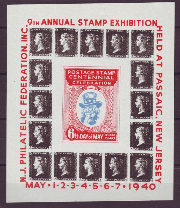 Z373 Usa Cinderella Poster 1940 Mnh No Gum Passaic New Jersey Stamp Exhibition