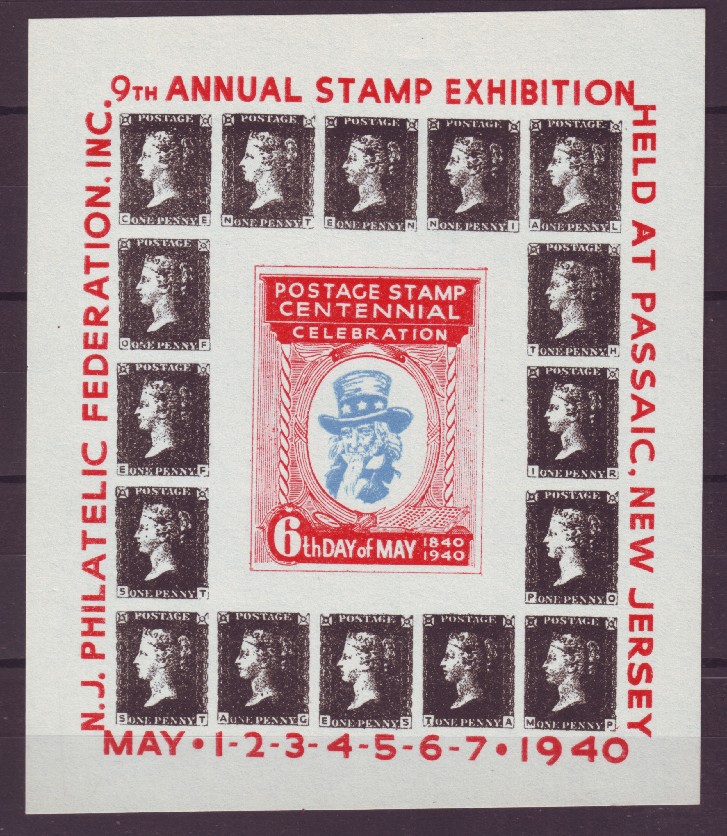 Z373 Usa Cinderella Poster 1940 Mnh No Gum Passaic New Jersey Stamp