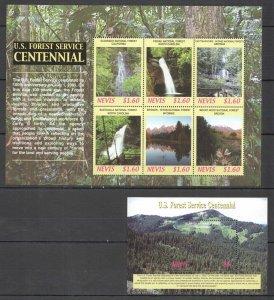 QF0310 2005 NEVIS NATURE LANDSCAPES U.S. FOREST SERVICE CENTENNIAL BL+KB MNH
