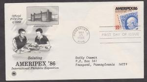 2145 Ameripex PCS FDC with neatly typewritten address