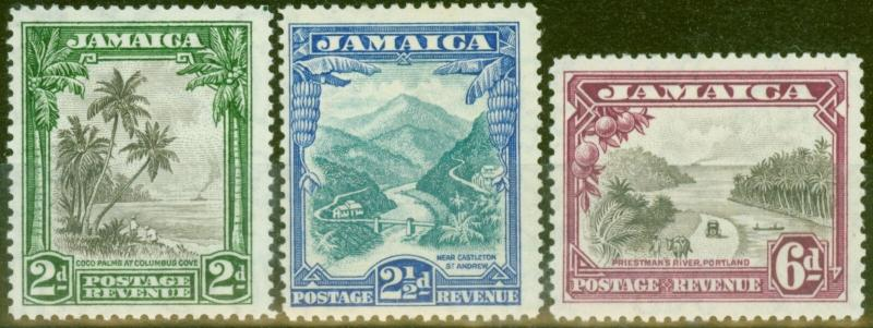 Jamaica 1932 set of 3 SG111-113 Fine Lightly Mtd Mint