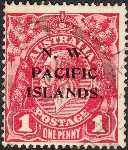New Guinea NWPI Overprint 1918 KGV 1d Carmine-Red with Secret Mark Variety VFU