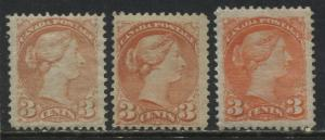 Canada 3- 3 cent Small Queens 2 are earlier Montreal printings mint o.g.