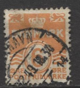 Denmark - Scott 224C - Definitive Issue -1940 - Used - Single 6o Stamp