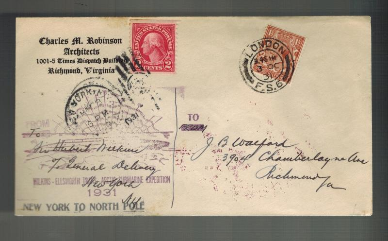 1931 London England to USA Cover Hubert Wilkins North Pole Submarine Expedition