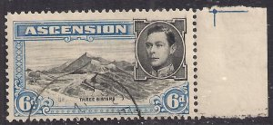 Ascension Island 1938 - 53 KGV1 6d Blue & Black used SG 43 ( C252 )