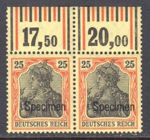 GERMANY 85a SPECIMEN PAIR OG NH VF $290 SCV FOR NORMAL BEAUTIFUL GUM SCARCE