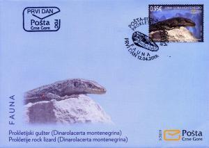 MONTENEGRO/2019 - (FDC) Fauna (Prokletije Rock Lizard) (Reptile), MNH