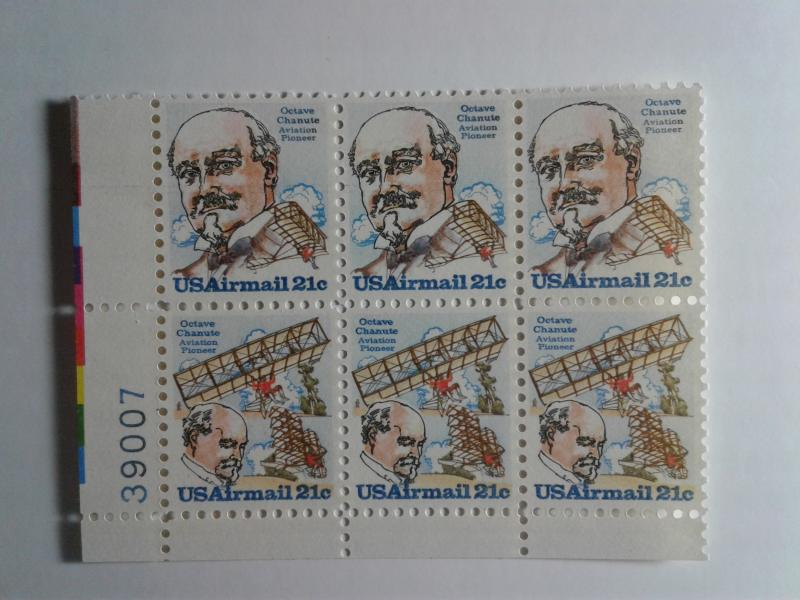 SCOTT # C93-94 AIR MAIL PLATE BLOCK OF 6 OCTAVE CHANUTE ISSUE MINT NEVER HINGED