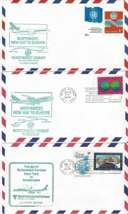 United Nations New York  6 1979 First Flight Covers.