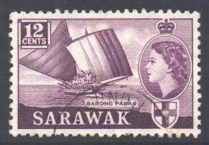 Sarawak Scott 203 - SG194, 1955 Elizabeth II 12c used