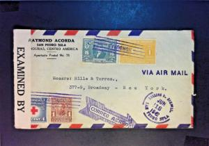 Honduras 1942 Censored AIrmail Cover to USA - Z896