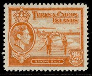 TURKS & CAICOS ISLANDS GVI SG199, 2½d yellow-orange, M MINT. Cat £13.