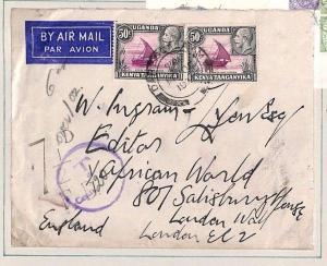 Ap171 British KUT Cover 1936 UNDERPAID Dar-es-Salaam Maritime BISNCo GB Dues