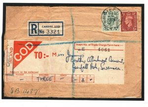 GB WALES Cover Cardiff Studios 1948 Registered CASH ON DELIVERY *COD*Label K249c