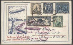 USA 1928 Graf Zeppelin LZ127 Airmail Si22A Germany Cover Flown Pilgrim 5c 103354
