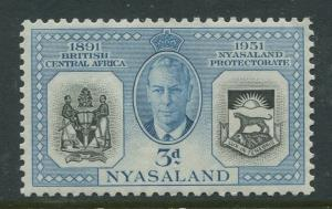 Nyasaland - Scott 92 - General Issue -1951 - MLH - Single 3d Stamp
