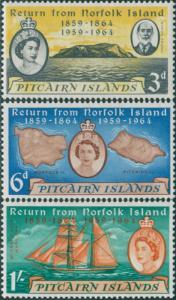 Pitcairn Islands 1961 SG29-31 Return from Norfolk Island set MNH