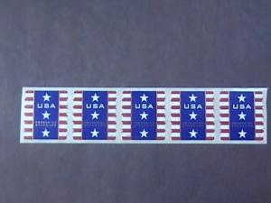 U.S.# 4157-MINT/NH-PLATE # COIL STRIP OF 5(V#222)---USA-STARS AND STRIPES --2007
