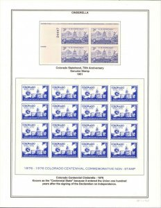 Colorado Statehood Anniv Cinderella Poster Stamp 1976 Sheet of 16 + Originals