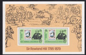 Br. New Hebrides, # 266a, Sir Rowland Hill, Stamp on Stamp, Souvenir Sheet, NH