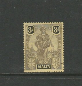 Malta 1922/6 3d Black/Yellow VFU SG 131